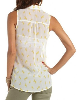 Charlotte Russe Printed Button-Down Tank