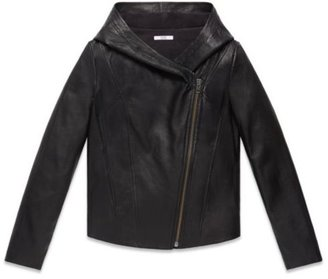 Helmut Lang Washed Leather Hooded Jacket