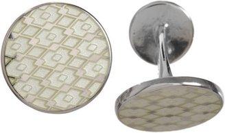 Barneys New York Silver & Enamel Lace-Pattern Cufflinks-Colorless