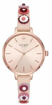 Kate Spade Womens Metro Three-Hand Nude-Leather Watch