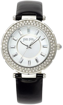Folli Follie 'Beautime' Crystal Bezel Patent Leather Strap Watch, 41mm