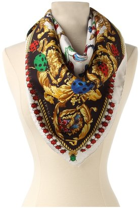Versace Ladybugs and Butterflies Scarf (White) - Accessories