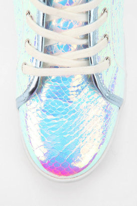 Urban Outfitters Deena & Ozzy Holographic Hidden Wedge High-Top Sneaker