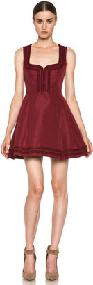 RED Valentino Faille Poly Sweetheart Dress in Wine