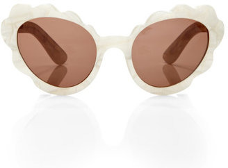 Opening Ceremony Flower Cat Eye Sunglasses In Off White Peal