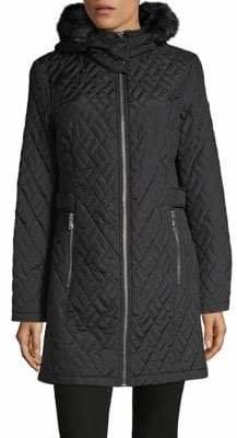 Calvin Klein Quilted Faux-Fir Trim Coat