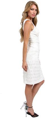 Sue Wong Short Diamond Cut Out Dress in White