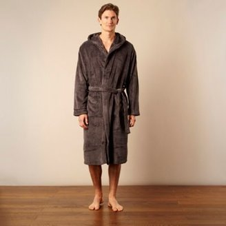 J by Jasper Conran Designer grey hooded fleece dressing gown