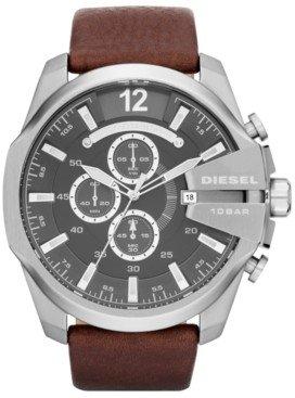 Diesel Men's Chronograph Mega Chief Brown Leather Strap Watch 51mm DZ4290