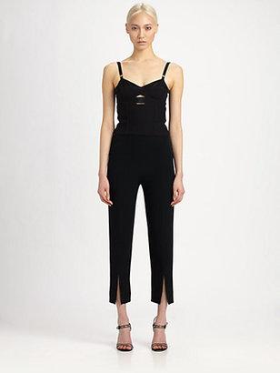 Alexander McQueen Leaf Crepe Slit-Front Trousers