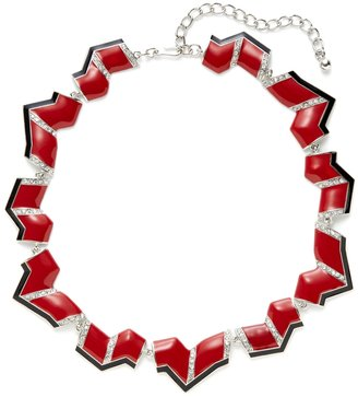 Kenneth Jay Lane Red & Black Geometric Zig Zag Station Necklace