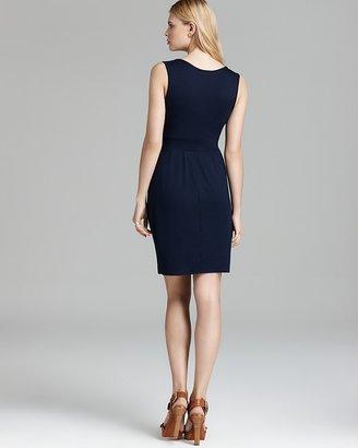 Three Dots V Neck Pleated Front Dress