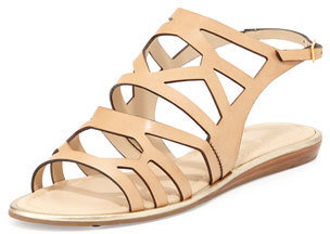 Kate Spade Aster Leather Cutout Sandal, Natural