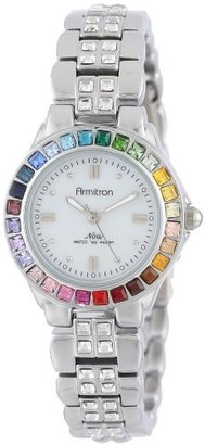 Armitron Women's 75/3689MPSVRB Multi-Color Swarovski Crystal Accented Silver-Tone Bracelet Watch $80 thestylecure.com