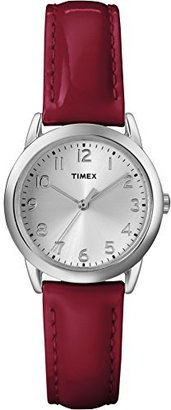Timex Women's T2P0859J Silver-Tone Watch with Red Band $24.99 thestylecure.com