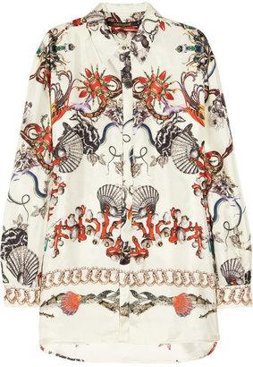 Roberto Cavalli Printed silk satin-twill shirt