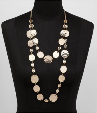 Express Two-Row Hammered Metal Disc Necklace