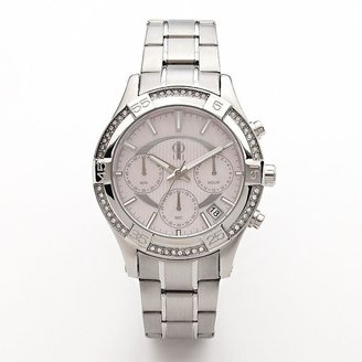 JLO by Jennifer Lopez stainless steel mother-of-pearl and crystal chronograph watch - women