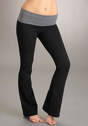 Hard Tail Contrast Waistband Roll Down Bootleg Flare Pants Activewear
