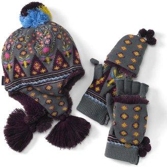Muk Luks trapper hat & flip-top mittens set