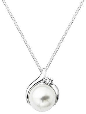 Sterling Silver High Polished Freshwater Pearl with Diamond Accent Pendant - 18""