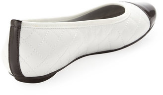 Neiman Marcus Saucy Quilted Leather Ballerina Flat, White