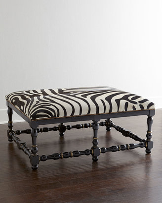 Massoud Zebra-Print Hairhide Bench