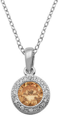 Lord & Taylor Silver Tone and Champagne Pendant Necklace
