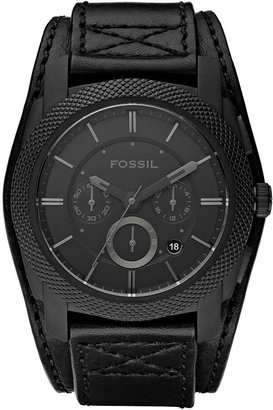 Fossil Watch, Men's Chronograph Machine Black Leather Strap 45mm FS4617