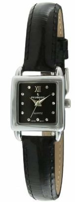 Peugeot Women's 3034BK Mini Square Silvertone Crystal Black Dial Leather Watch