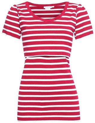 Jo-Jo JoJo Maman Bebe Stripe Feeding T-Shirt - Red White Stripe-M