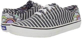 Keds Double Dutch Stripe (White/Black Cotton) - Footwear