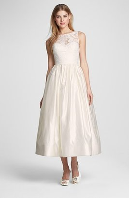 Theia Lace & Satin Tea Length Gown