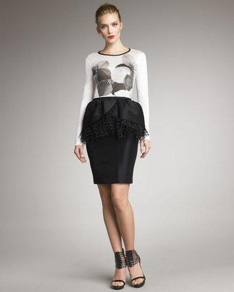 Jason Wu Ostrich-Trim Zibeline Skirt