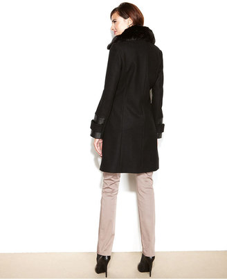 Via Spiga Coat, Asymmetrical Faux-Fur-Collar Walker