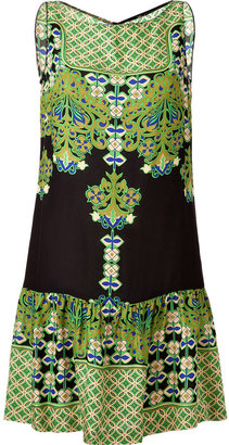Anna Sui Green/Black Multi Print Bamboo Dress