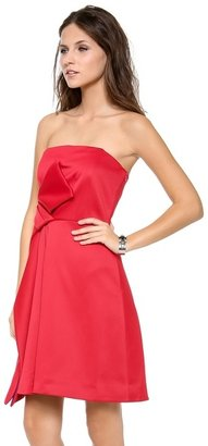 Halston Strapless Colorblock Bow Dress