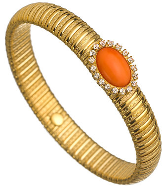 Liz Palacios Orange Caboche Stretch Bangle Bracelet