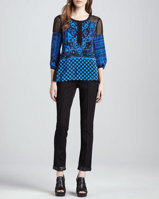 Nanette Lepore Fly Away Leather-Trim Pants