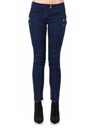 Balmain Moto-style mid-rise skinny jeans