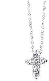 Meira T Diamond Cross Necklace - White Gold