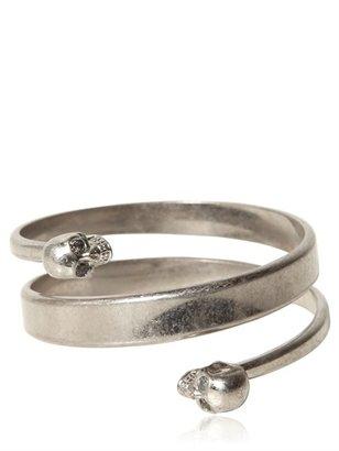 Alexander McQueen Swarovski Twin Skull Brass Bracelet