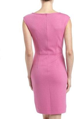 St. John Santana Knit Cap-Sleeve Dress, Pink Topaz