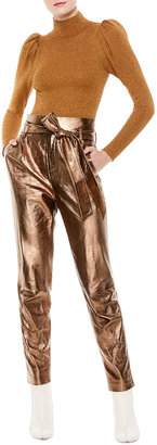 Alice + Olivia Gabrielle High-Waist Metallic Leather Pants w/ Belt