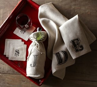 Pottery Barn Textured Linen Wine Bag