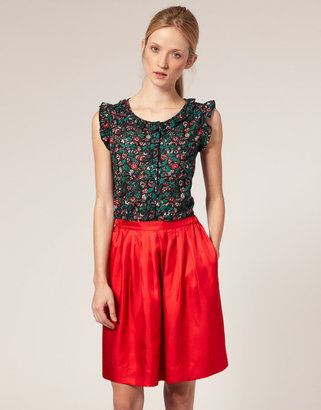 APC Madras Floral Print Top With Frill Collar