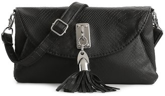 Poppie Jones Snakeskin Tassel Flap Cross Body Bag