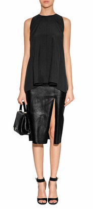 Jitrois Black Stretch Leather Skirt