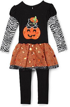 Rare Editions 2T-6X Halloween Cat & Pumpkin Top & Striped Leggings Set