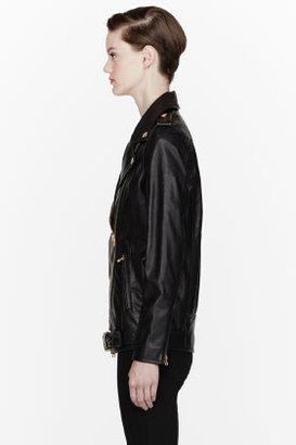 Balmain PIERRE Black Leather classic Biker Jacket